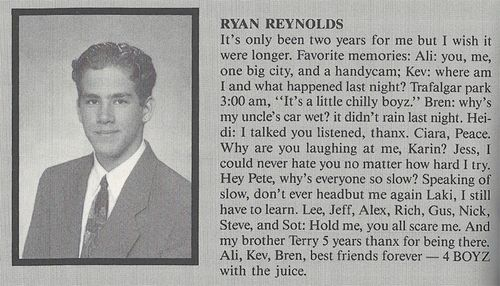 Read Ryan Reynolds High School Yearbook Quotes Blog Stage Acting In Film Tv Theatre Backstage