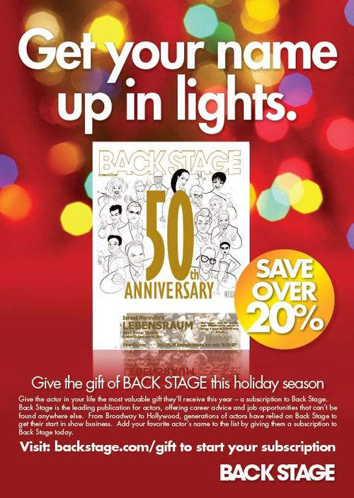 Back stage gift subscription ad 12.2011